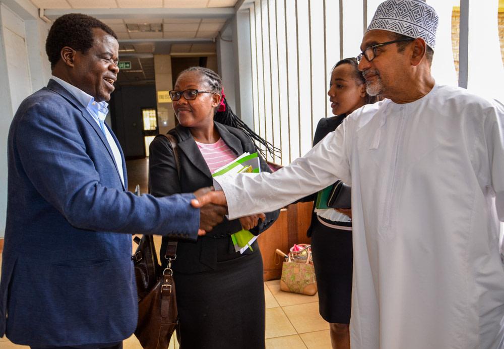 Activist Okiya Omtatah, Katiba Institute (KI) Executive Director Christine Nkoge, KI's Ruth Nyaberi and MUHURI chairman Khelef Khalifa at Milimani Law Courts.