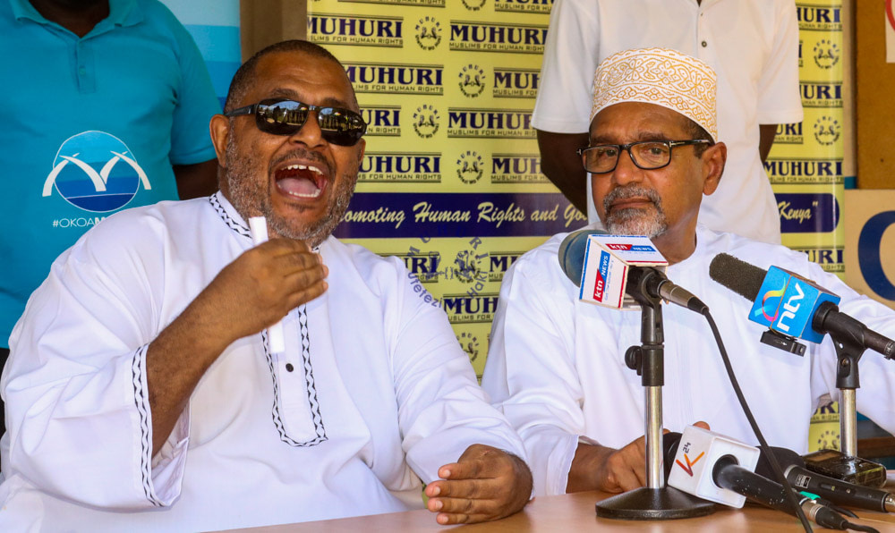 Okoa Mombasa members Abubakar Zein and Khelef Khalifa at a press conference on in Mombasa on March 29, 2020.